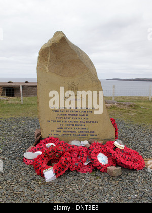 Russian Convoy Memorial beside Loch Ewe Naval Base Defences, Rubha nan Sasan, Loch Ewe, Wester Ross, Scotland. - Stock Photo