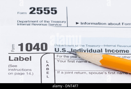 Irs Tax Form 1040 Closeup Isolated On White Background Stock Photo