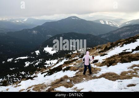 Carpathian mountains, Ukraine - Hikers climb up Mount Petros, one of the higher peaks in the Ukrainian Carpathian - Stock Photo