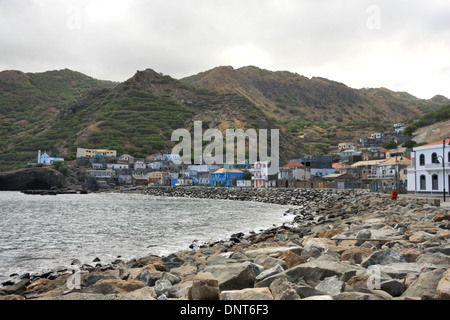 The port village of Furna on the island of Brava, Cape Verde where the ferry from the island of Fogo docks. - Stock Photo