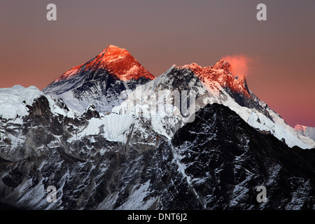 Mount Everest, Nuptse and Lhotse viewed at sunset from Gokyo Ri, Nepal Himalaya - Stock Photo