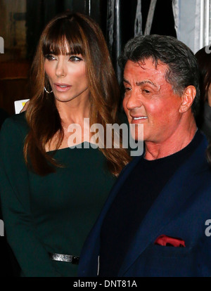 Sylvester Stallone and wife Jennifer Flavin attend the world premiere of 'Grudge Match' at the Ziegfeld Theatre - Stock Photo