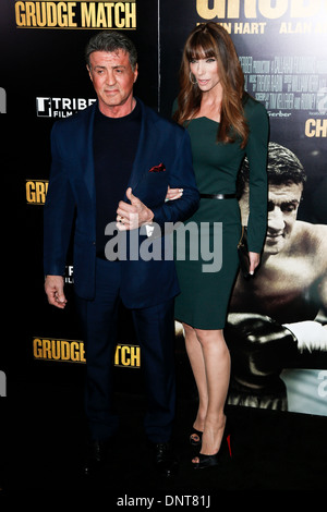 Sylvester Stallone and wife Jennifer Flavin attend the premiere of 'Grudge Match' at the Ziegfeld Theatre on December - Stock Photo