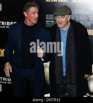 Actor Robert DeNiro (R) and Sylvester Stallone attend the world premiere of 'Grudge Match' at the Ziegfeld Theatre. - Stock Photo