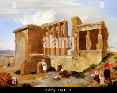 Charles Lock Eastlake, The Erechtheum, Athens, with Figures in the Foreground 1821 Oil on canvas. Yale Center for - Stock Photo