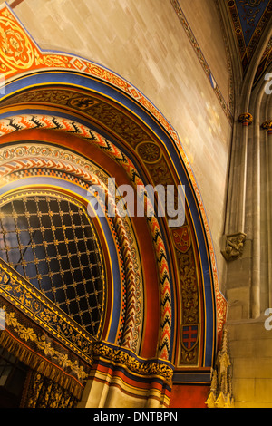 Arched entry into a small chapel in the Cathedral of St. Pierre, Geneva, Switzerland - Stock Photo