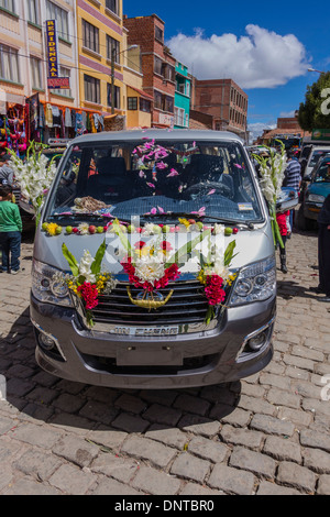 The blessing of the automobiles in Copacabana, Bolivia. - Stock Photo