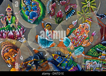Hand Painted Indian designs on a Sacred Fig tree leaves / Bodhi tree leaves on black background - Stock Photo