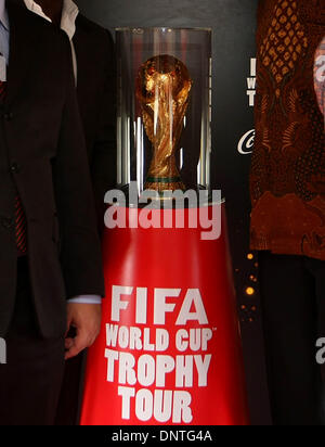 East Jakarta, Jakarta, Indonesia. 6th Jan, 2014. The FIFA World Cup trophy is on display upon arrival at Halim Perdanakusuma - Stock Photo