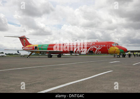 East Jakarta, Jakarta, Indonesia. 6th Jan, 2014. The FIFA World Cup airplane arrived at Halim Perdanakusuma airport. - Stock Photo