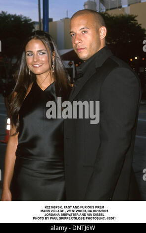 June 18, 2001 - K22168PSK: FAST AND FURIOUS PREM.MANN VILLAGE , WESTWOOD, CA 06/18/2001.JORDANA BREWSTER AND VIN - Stock Photo