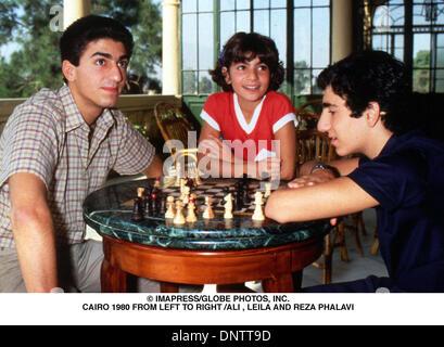 June 15, 2001 - © IMAPRESS/   CAIRO 1980 FROM LEFT TO RIGHT /ALI , LEILA AND REZA PHALAVI(Credit Image: © Globe - Stock Photo