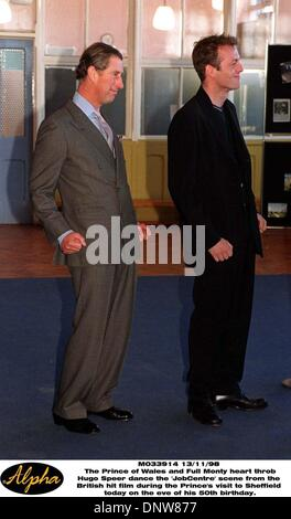 Nov. 13, 1998 - Sheffield, Great Britain - The Prince of Wales and Full Monty heart throb Hugo Speer dance the 'JobCentre' - Stock Photo