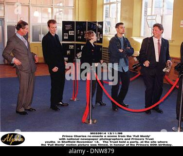Nov. 13, 1998 - Sheffield, Great Britain - Britain's Prince of Wales (left) joins actor Hugo Speer as he imitates - Stock Photo