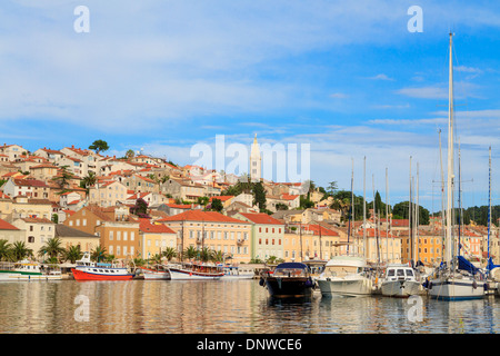 Mali Losinj waterfront and harbor, Island of Losinj, Dalmatia, Croatia - Stock Photo