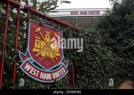 West Ham United Football Club badge outside the Boleyn Ground, Upton Park, London - Stock Photo