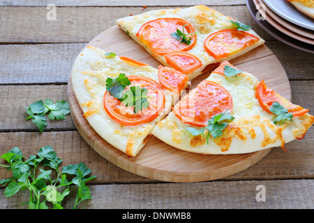 three large slices of pizza margarita, food closeup - Stock Photo