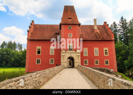 Red water chateau Cervena Lhota in Southern Bohemia, Czech Republic - Stock Photo