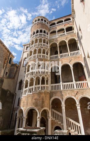 06/09/2013 Scala Contarini del Bovolo, a unique spiral staircase. Venice, Italy - Stock Photo