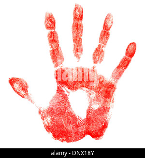 Bloody red hand print isolated on white - Stock Photo
