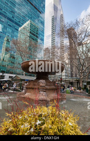 The Josephine Shaw Lowell Fountain, Bryant Park, was the first monument to a woman in New York City. - Stock Photo