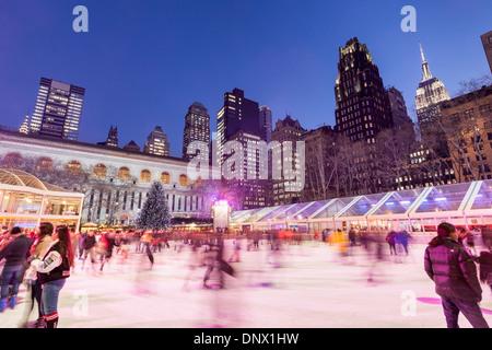 Ice skating in December, Bryant Park, New York City.