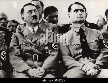 Sept. 1, 1939 - Berlin, Germany - 'The Fuehrer' Nazi leader ADOLF HITLER and his 'deputy' RUDOLF HESS sitting at - Stock Photo