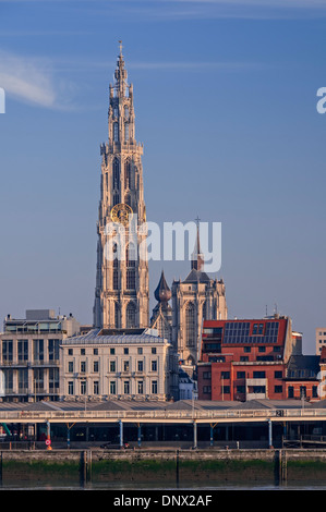 City view to cathedral Antwerp Belgium - Stock Photo