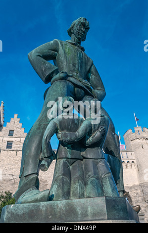 Lange Wapper statue Steen Castle Antwerp Belgium - Stock Photo