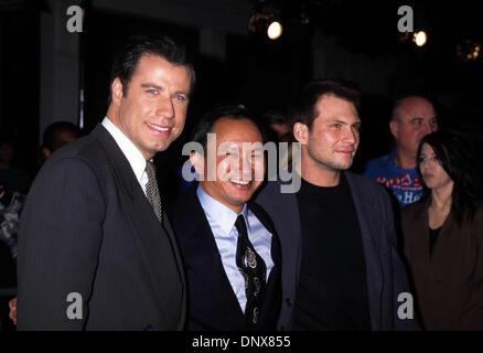 Jan. 1, 1996 - Hollywood, California, U.S. - K3799LR.JOHN TRAVOLTA, JOHN WOO, & CHRISTIAN SLATER.''Broken Arrow'' - Stock Photo