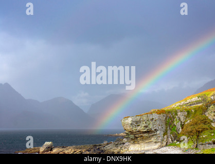 Sgur na Stri, Black Cuillins viewed across Loch Scavaig, Elgol on the Isle of Skye in the Scottish Highlands in - Stock Photo
