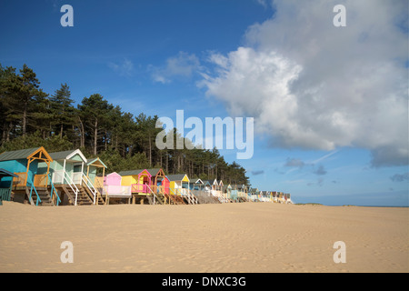 Coloured beach huts in Wells next the Sea, Norfolk, UK - Stock Photo