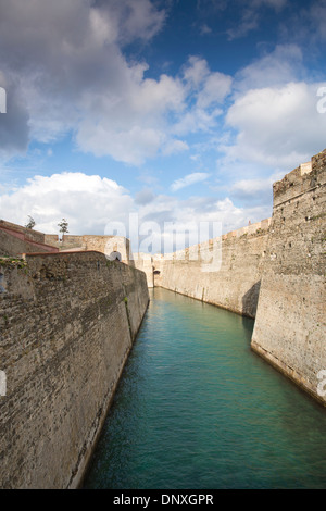 Foso de San Felipe Moat and Castle, Ceuta, Province of Spain located on the north coast of Africa, bordering Morocco - Stock Photo