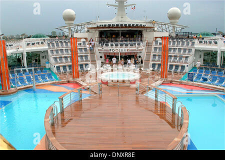 May 26, 2006 - Miami, Florida, USA - Views of a deck and a swimming pool and sunning area on the largest ship at - Stock Photo
