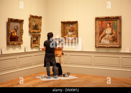 Student reproducing a canvas at Metropolitan Museum, New York City, USA - Stock Photo