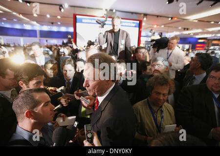 Jan 10, 2006; Detroit, MI, USA; General Motors CEO Rick Wagoner answers questions from reporters following an announcement - Stock Photo
