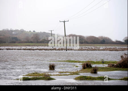 Swansea, UK. 6th Jan, 2014. Flooded fields at Gowerton near Swansea today. The West of the country was battered - Stock Photo