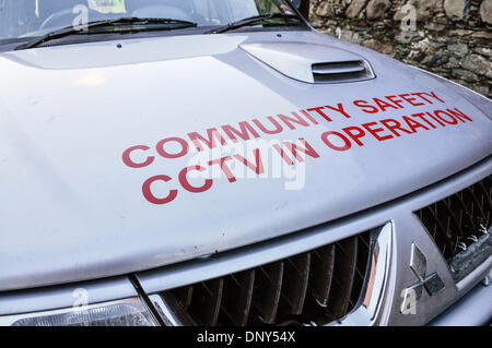 Portaferry, Northern Ireland. 6 Jan 2014 - Community Safety vehicle The town was at risk of severe flooding caused - Stock Photo