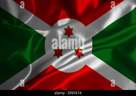 Burundi flag on satin texture. - Stock Photo