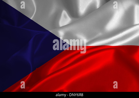 Czech Republic flag on satin texture. - Stock Photo