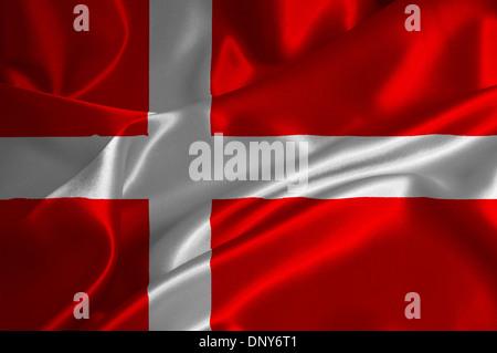 Denmark flag on satin texture. - Stock Photo