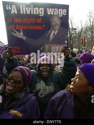 Jan 16, 2006; Manhattan, New York, USA; Thousands of members and supporters of 1199 Service Employees International - Stock Photo