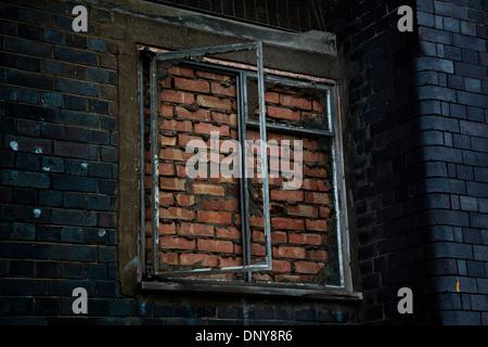 Bricked in window, London, UK - Stock Photo