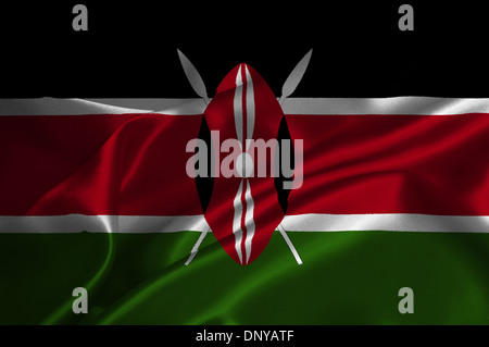 Kenya flag on satin texture. - Stock Photo