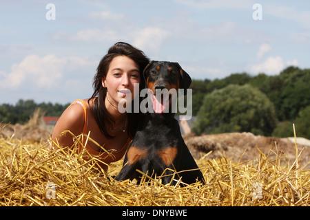 Dog Dobermann / Doberman Pinscher black and tan and a girl - Stock Photo