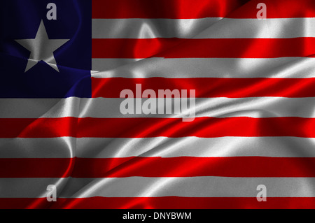 Liberia flag on satin texture. - Stock Photo