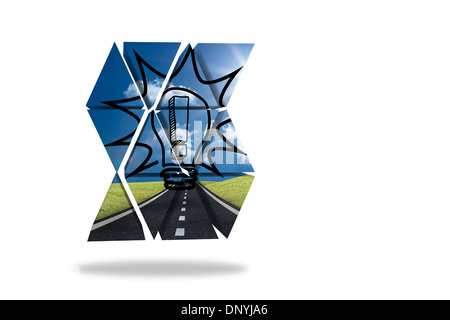 Exclamation mark in light bulb on abstract screen - Stock Photo