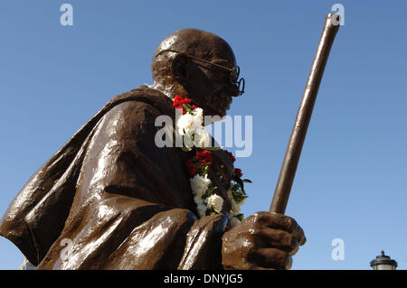 Jan 31, 2006; Atlanta, GA, USA; Flowers on Ghandi statue at King Center, Atlanta, to honor Coretta Scott King on Jan. 31, 2006. Coretta Scott King died on Jan. 30 in her sleep at a Mexican rehabilitation center where she was undergoing holistic therapy for a stroke. Mandatory Credit: Photo by Robin Nelson/ZUMA Press. (©) Copyright 2006 by Robin Nelson