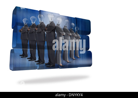 Light bulb business people on abstract screen - Stock Photo