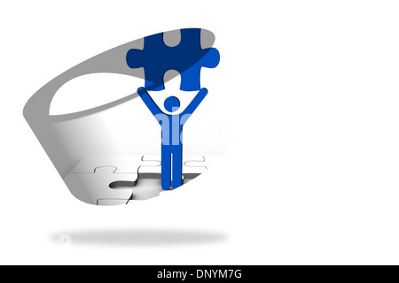 Figure holding jigsaw piece on abstract screen - Stock Photo
